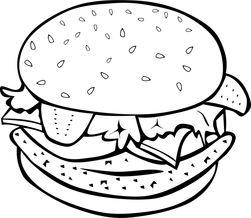 clip transparent download Hamburger junk food french. Cheeseburger drawing art