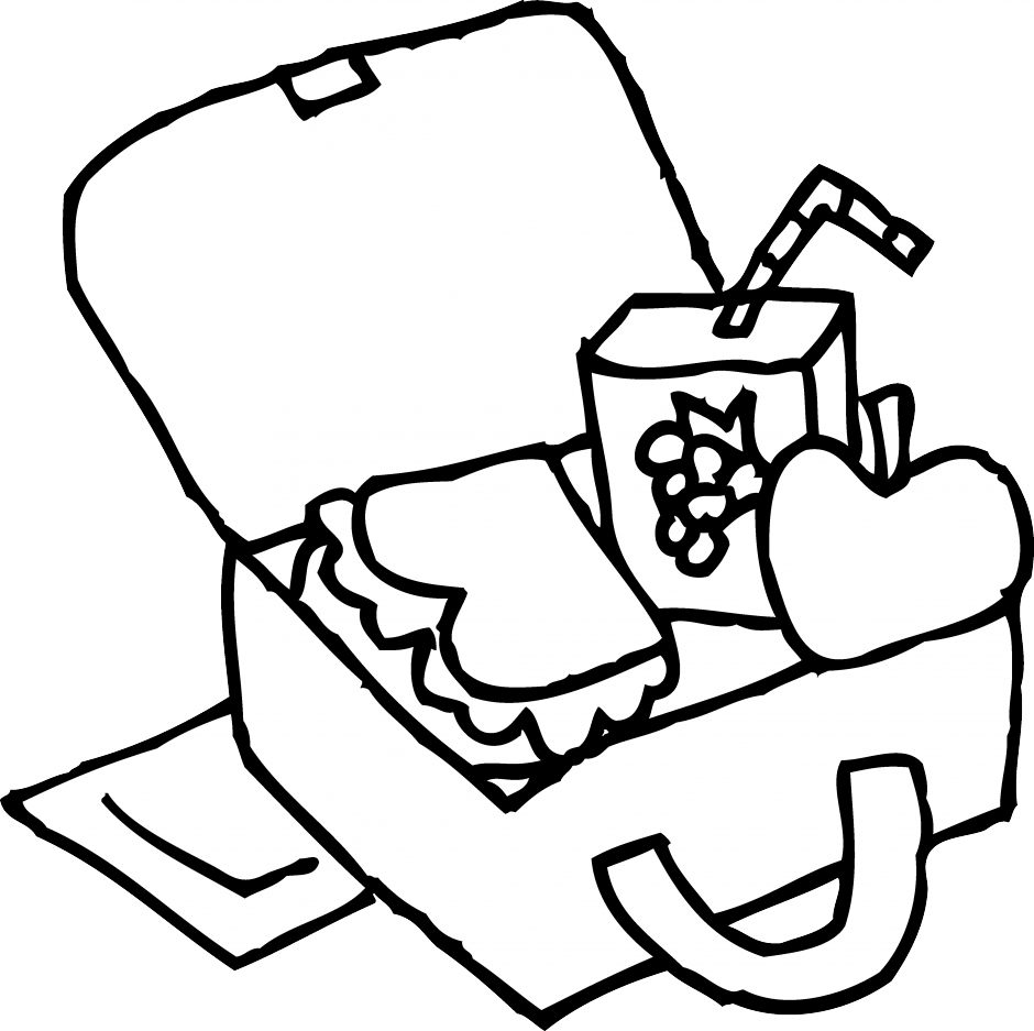 banner free library Lunch box coloring page. Luncheon clipart luch.