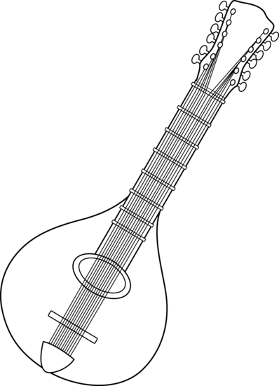 png free stock Lute drawing. Black and white mandolin.