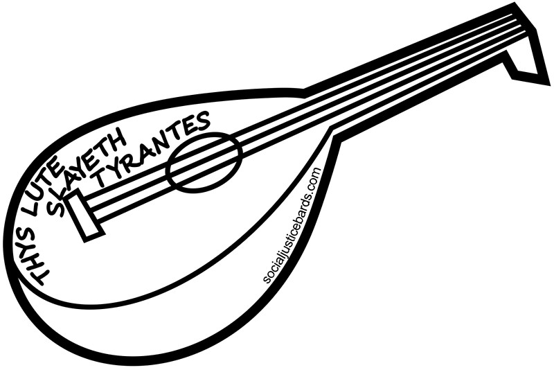 clip art black and white library Lute drawing. Free download best on.