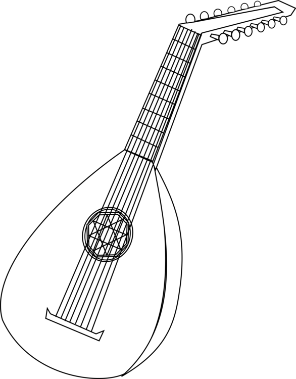 svg transparent download Lute drawing. Musical instruments coloring book.