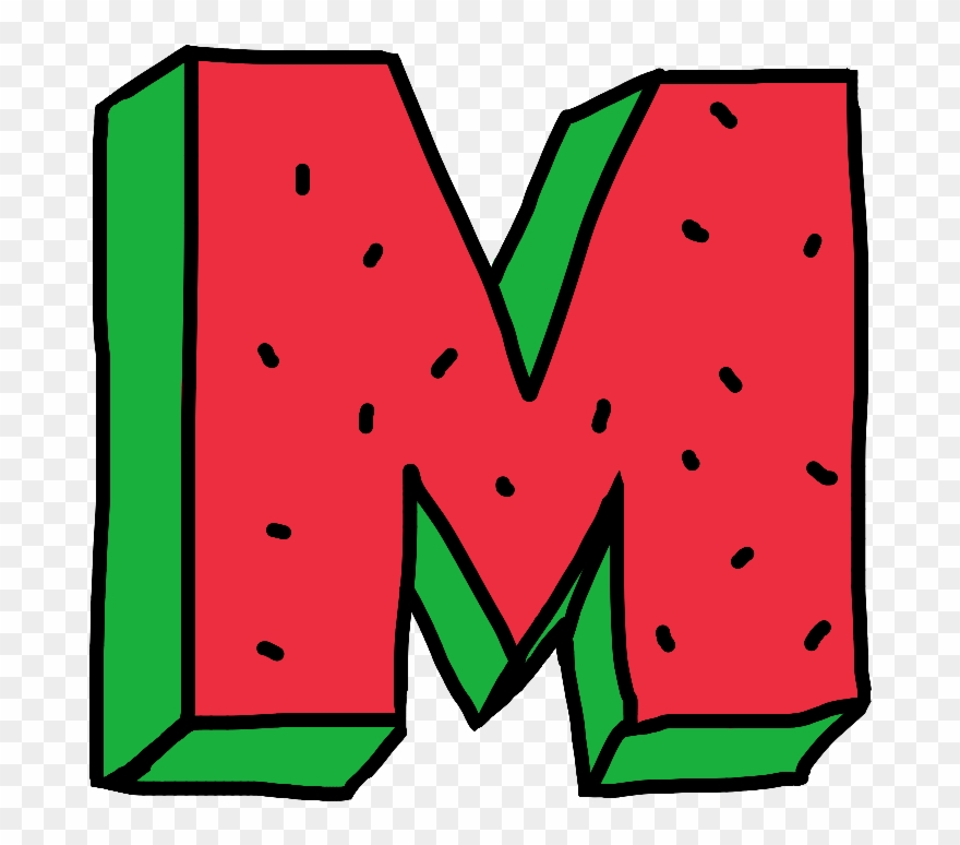 transparent M clipart. Letter water watermelon fruit.