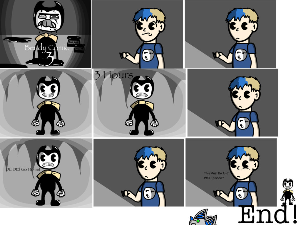 graphic black and white Machine clipart comic. Bendy and the ink.
