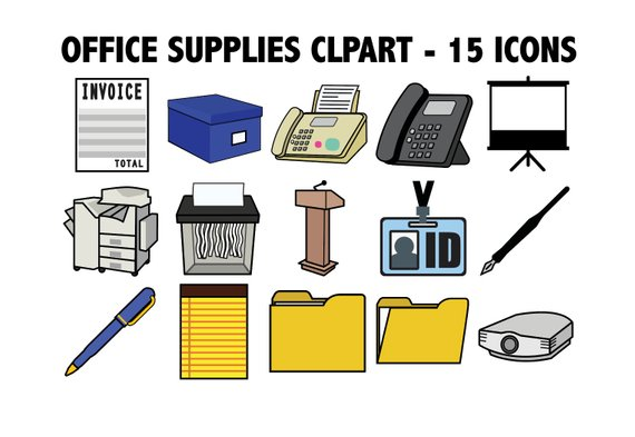 clipart black and white stock Machine clipart school. Office supplies work icons.