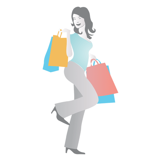 clip freeuse library Girl shopping cartoon