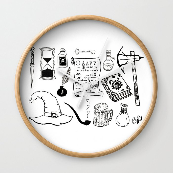 clipart royalty free library Fantasy collection black sketches. Mage drawing clock