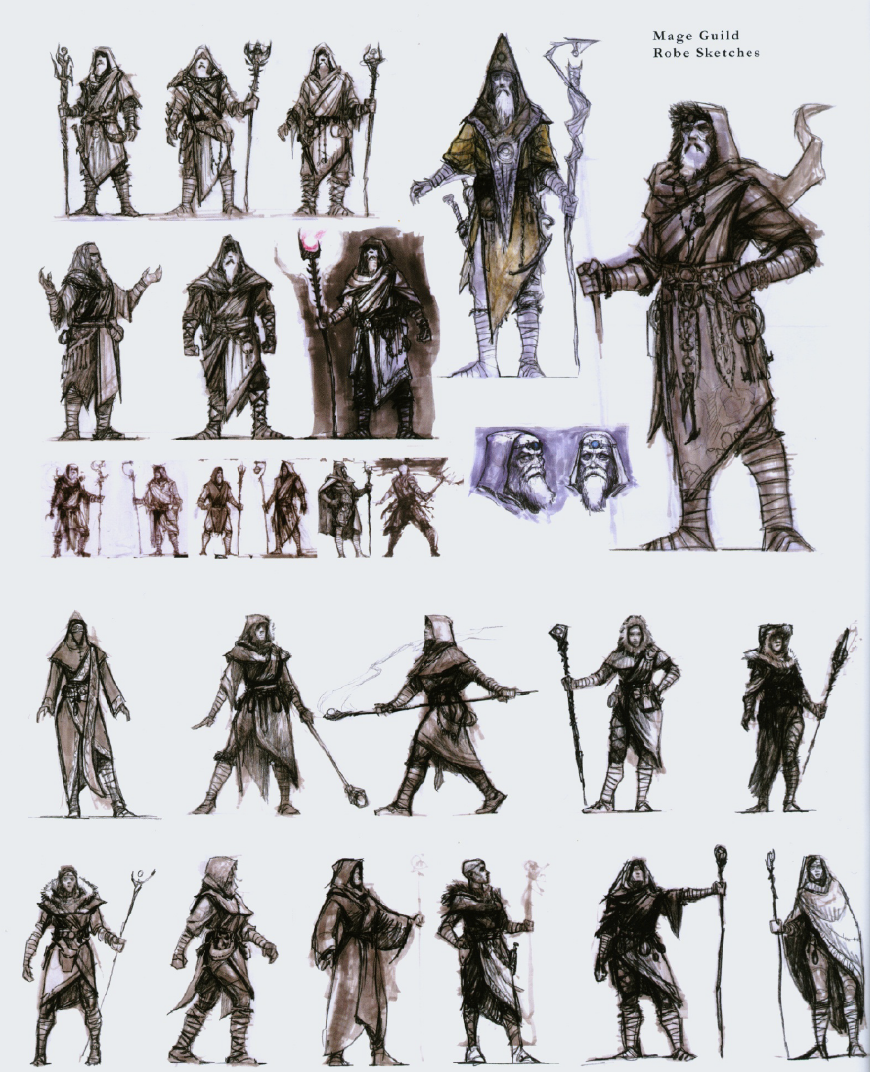 graphic free library Skyrim guild from artbook. Mage drawing concept art