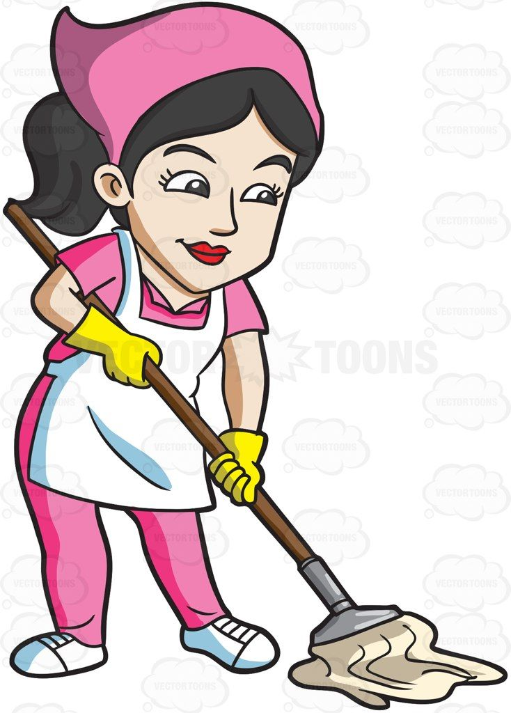 picture free stock A mopping the floor. Maid clipart.