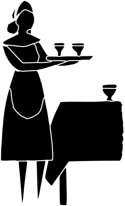black and white library Maid silhouette clip art. Waiter clipart