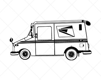 clipart stock Postal truck svg etsy. Mailman clipart car.