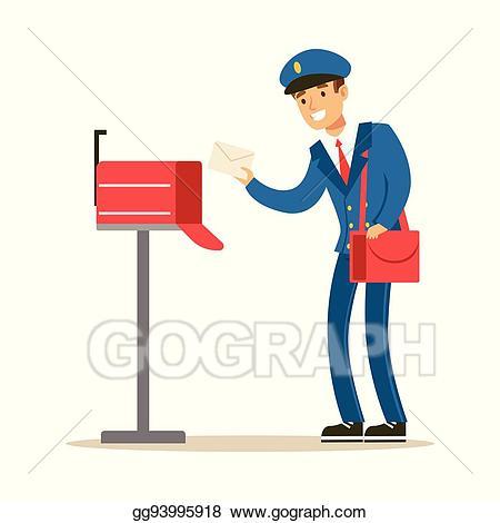 clip art transparent Mailman clipart postman uniform. Eps illustration in blue