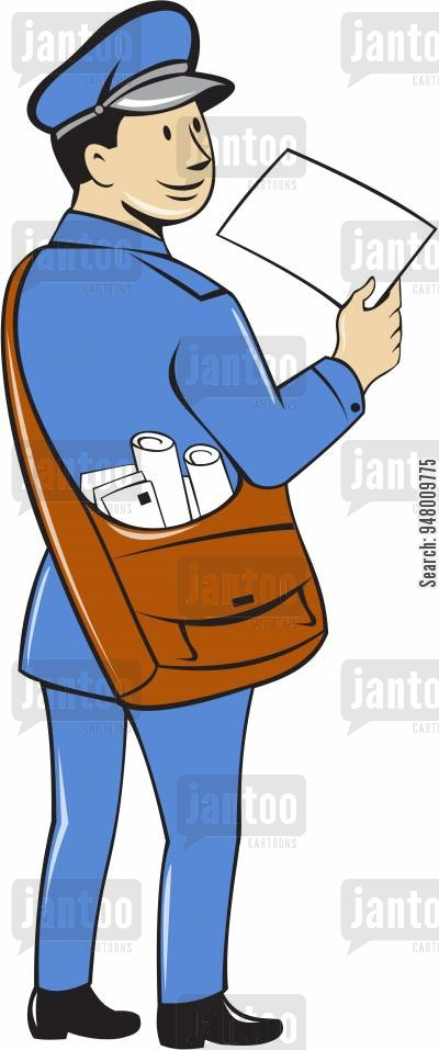 vector black and white stock Mailman clipart postman uniform. Cartoons humor from jantoo