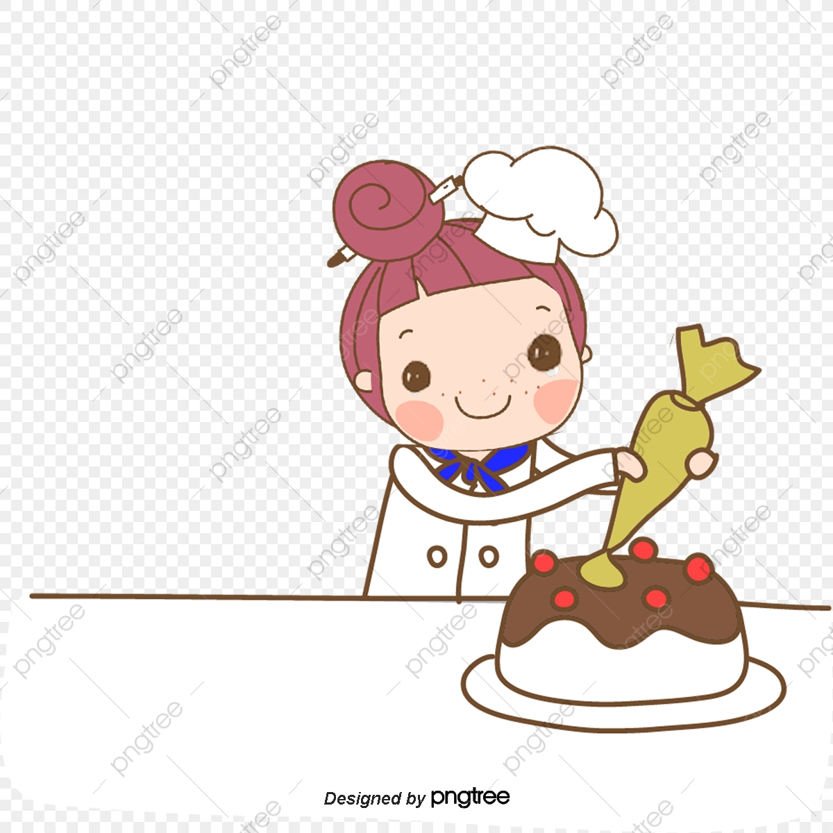 png freeuse stock Make clipart cake. A girl vector decorating.