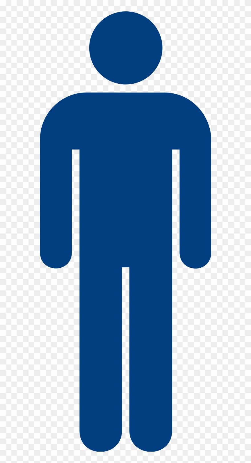 transparent Blue mens toilet sign. Male clipart.