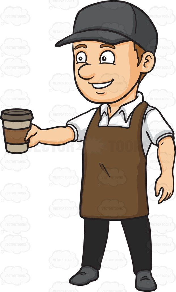 image black and white library Male clipart barista. A serving hot coffee.