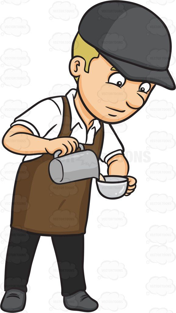 vector freeuse stock A carefully pouring steamed. Male clipart barista.