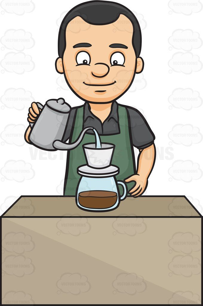 freeuse A pouring hot water. Male clipart barista.
