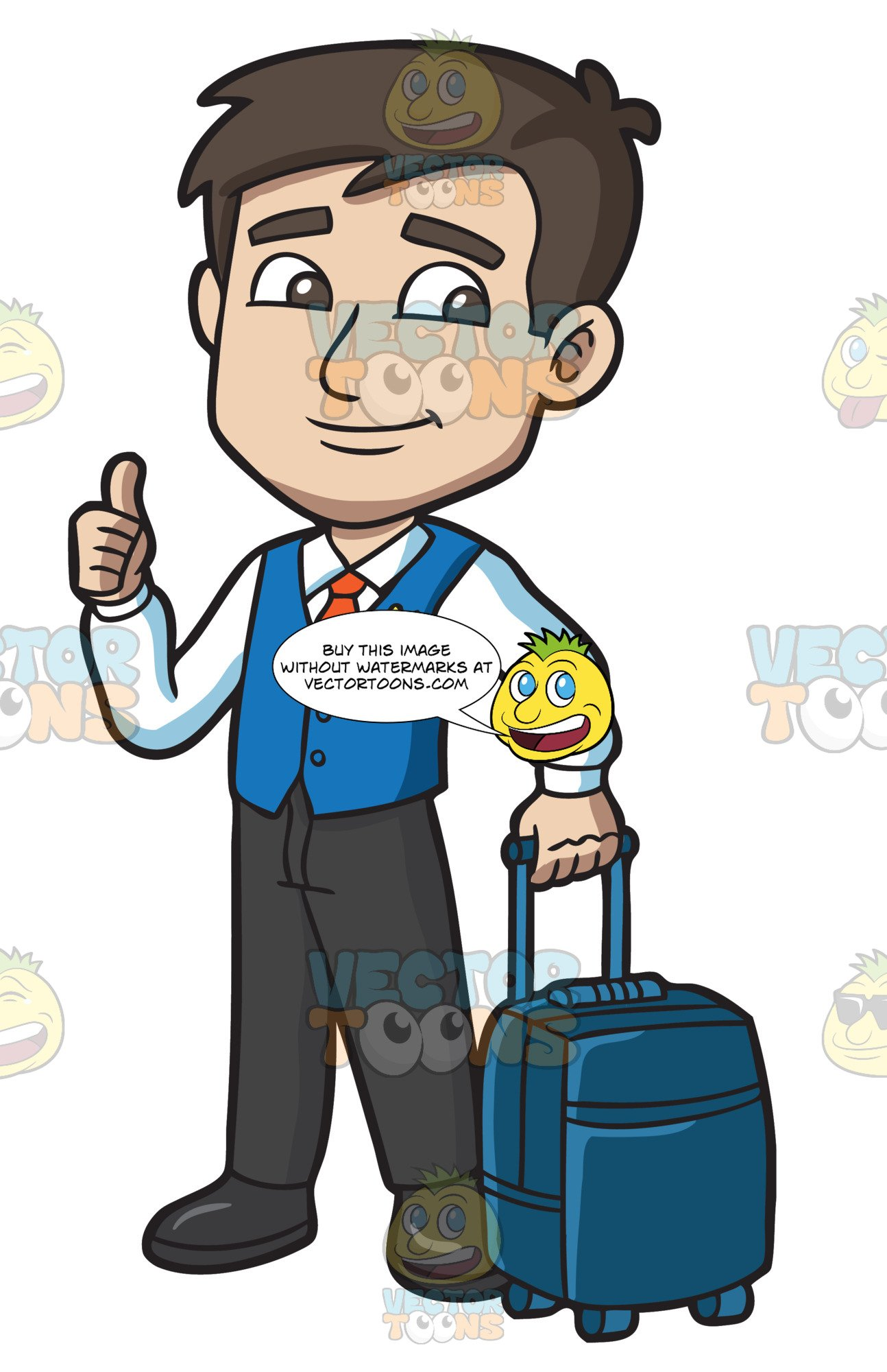 clip art royalty free stock Male clipart male flight attendant. A carrying trolley luggage.