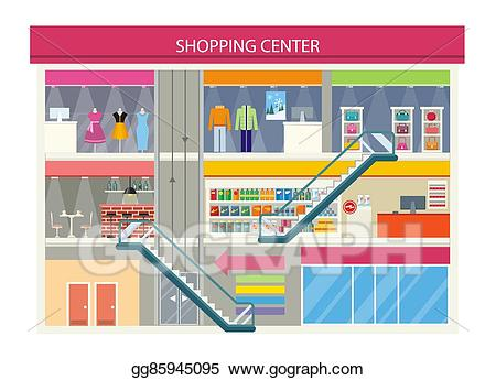 graphic transparent stock Mall clipart. Vector art shopping center.
