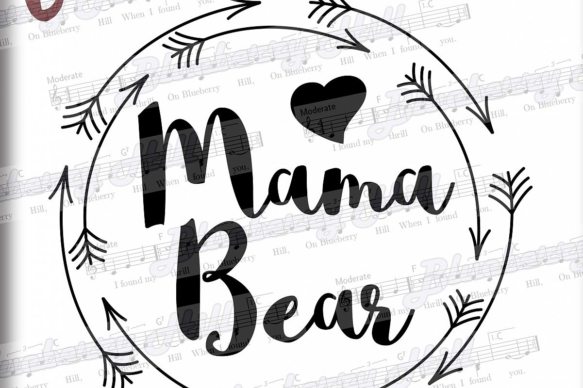 graphic black and white stock Mama bear clipart. Svg mothers day digital