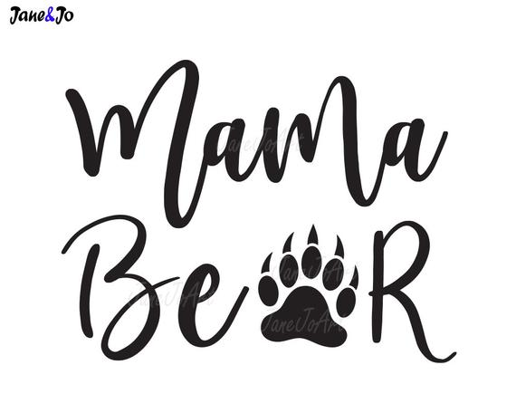 transparent Svg mom saying vector. Mama bear clipart