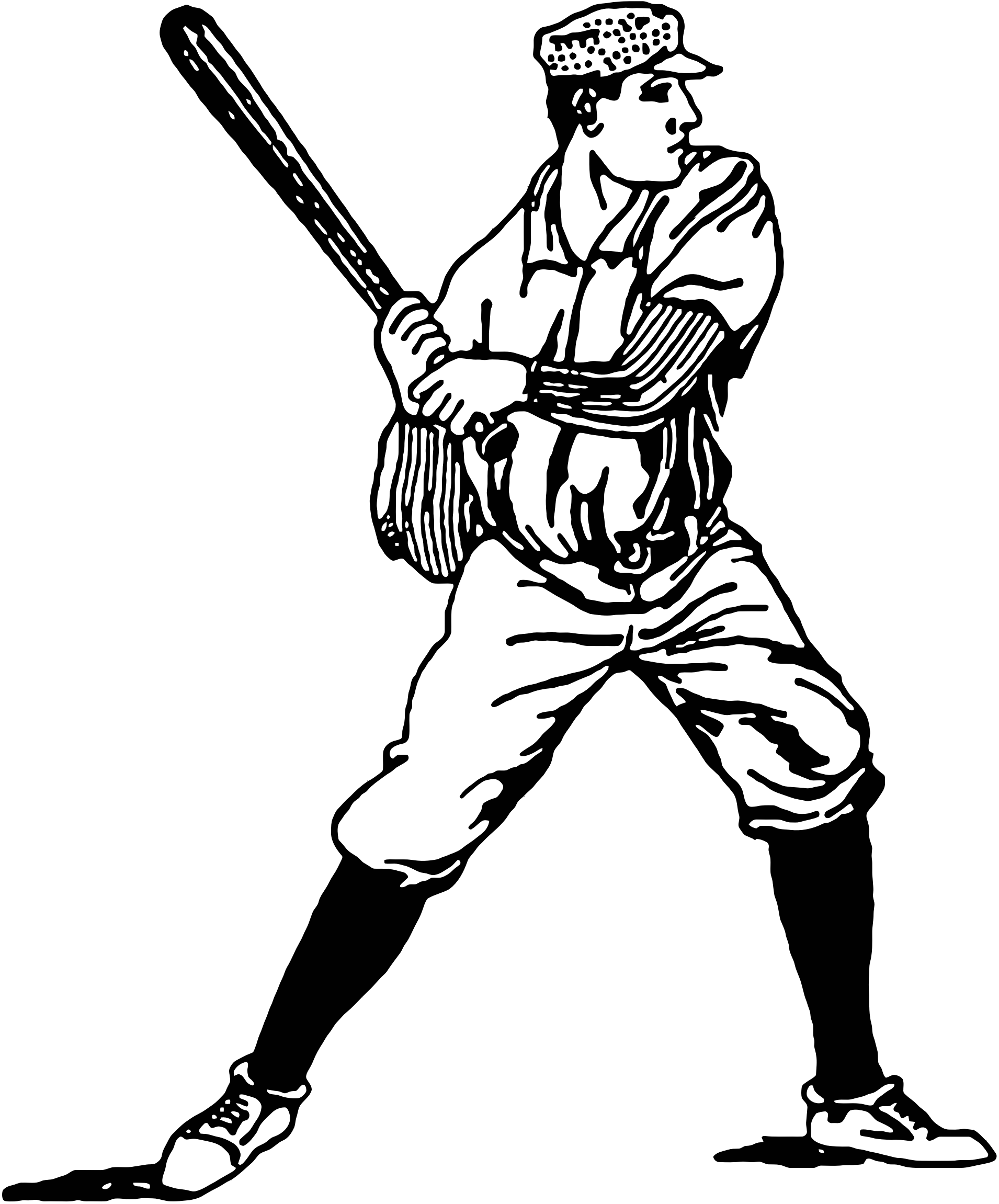 svg library Man clipart baseball. Vintage player illustration big.