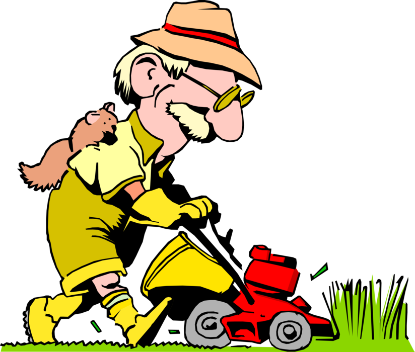 png black and white library Mowing the Lawn with Lawn Mower