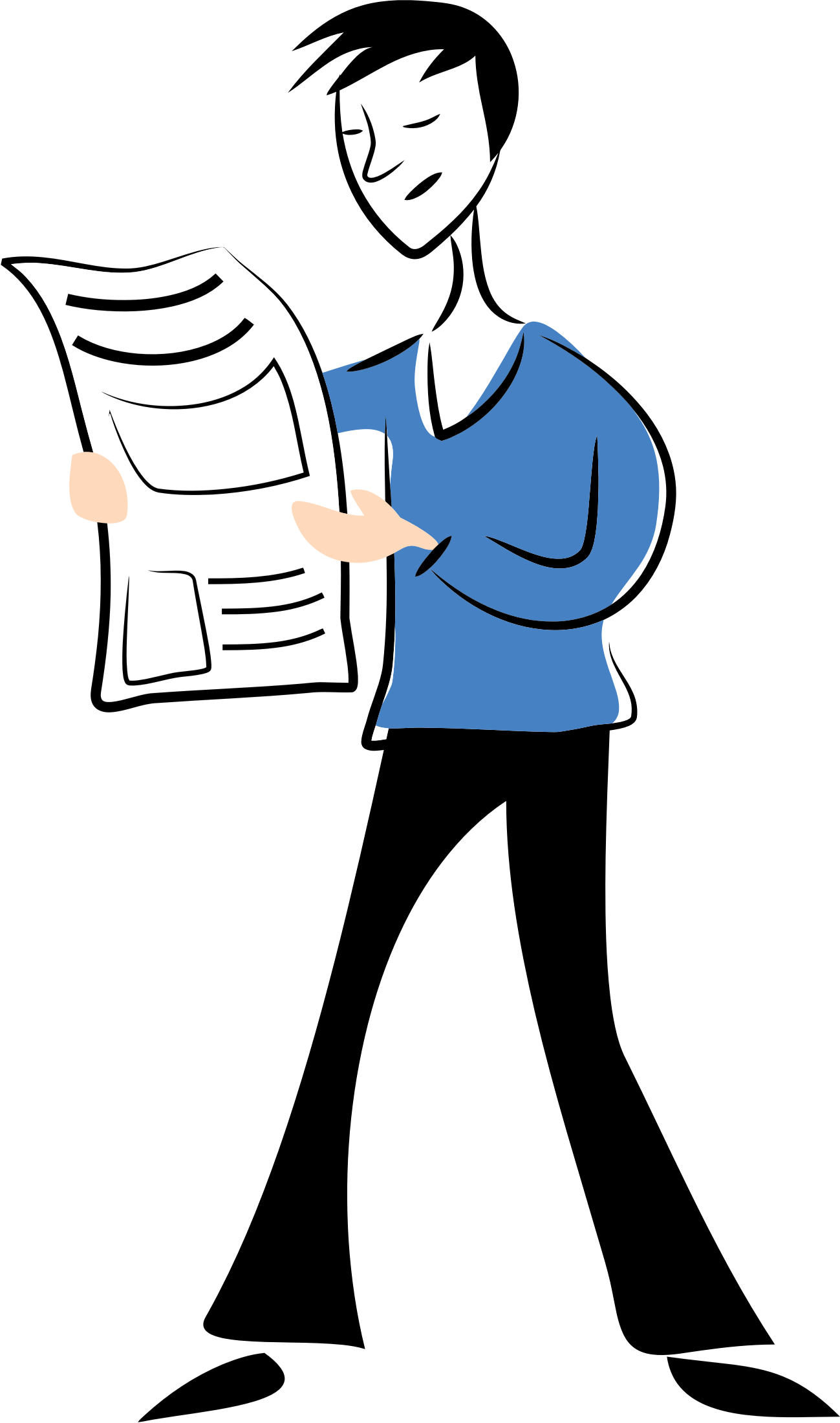 clipart black and white Man reading newspaper clipart. Big image png.