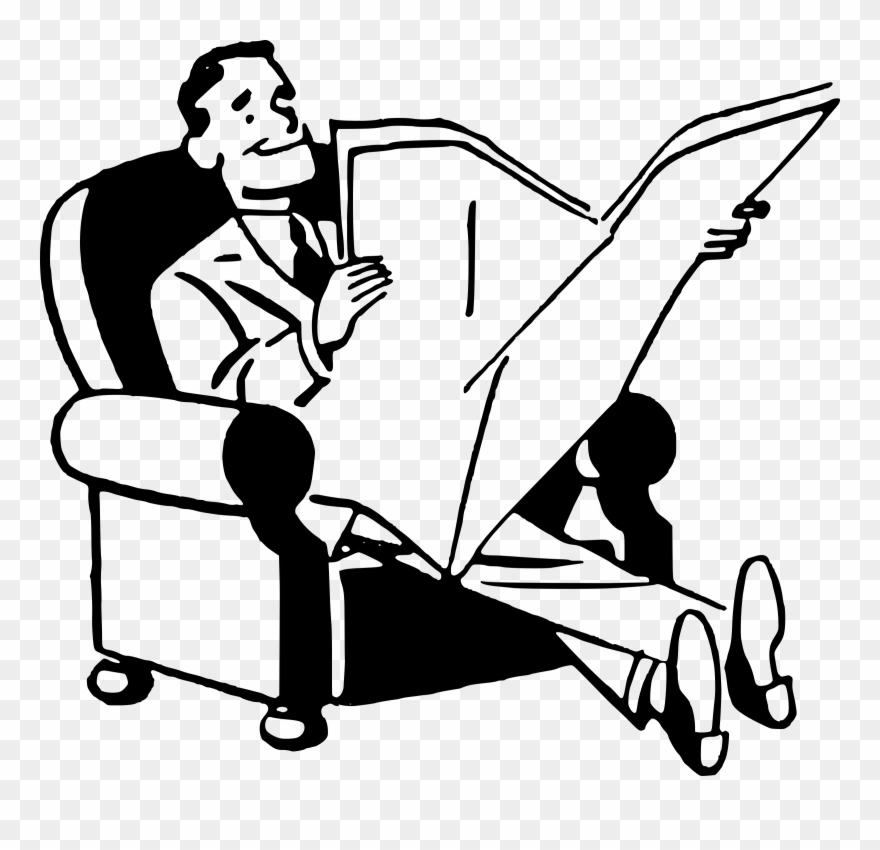vector transparent stock Man reading newspaper clipart. Fetch image .