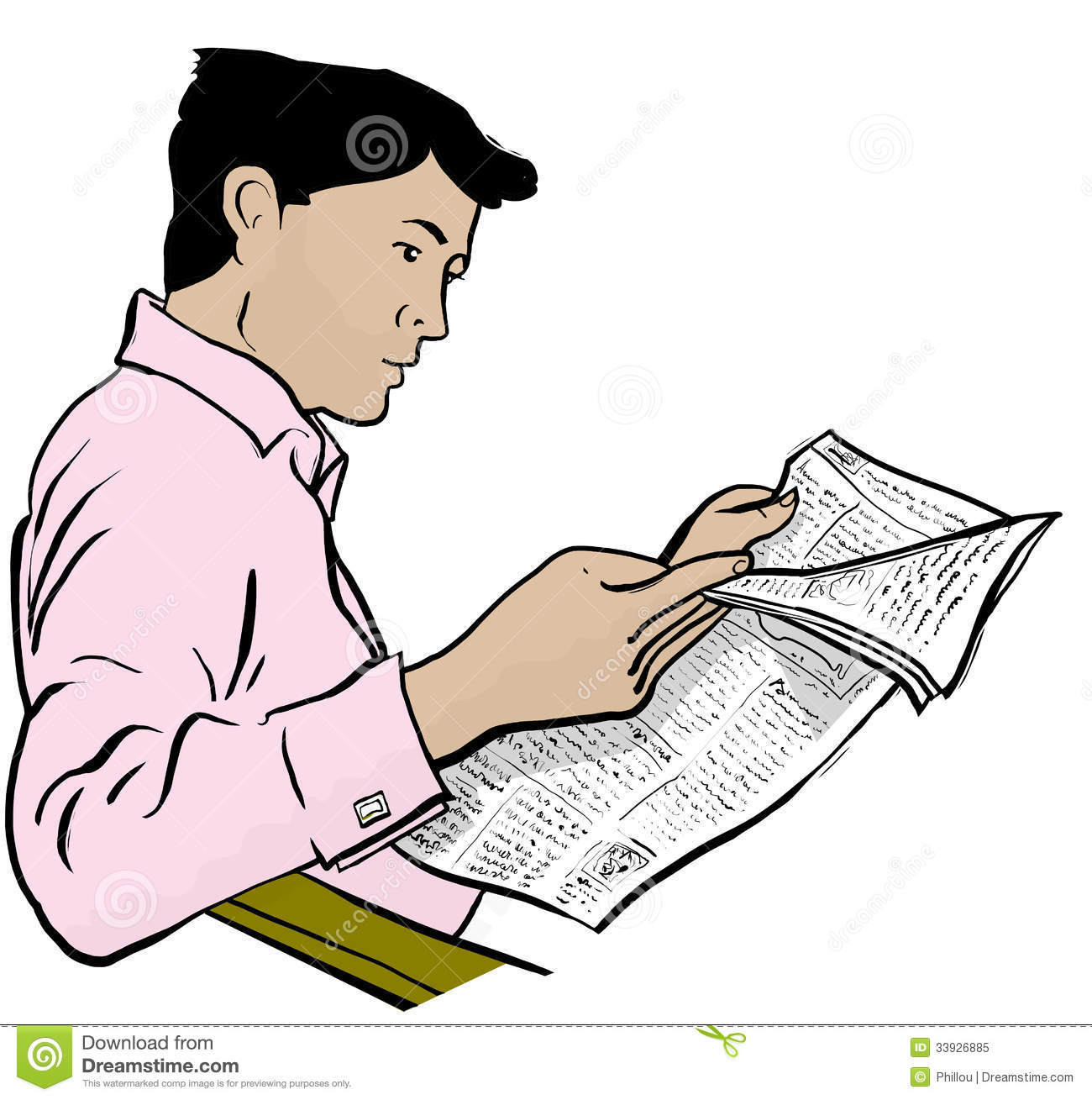 graphic royalty free library Station . Man reading newspaper clipart.