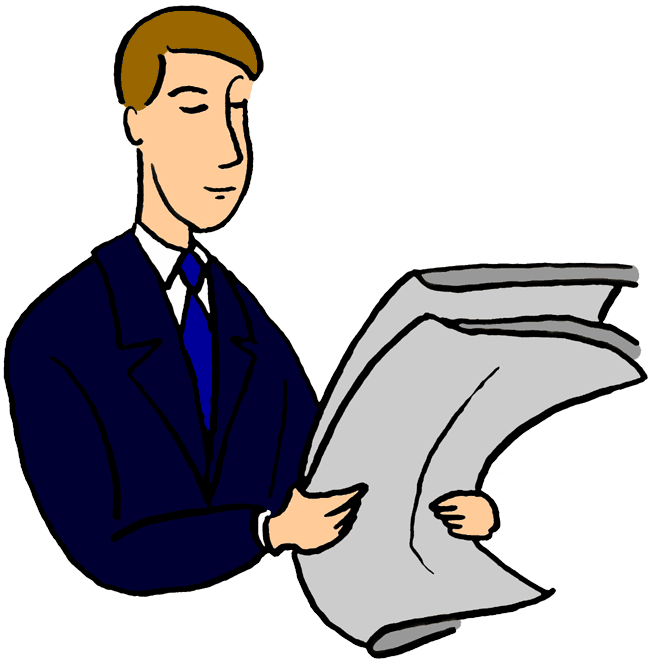 vector freeuse library Free cliparts download clip. Man reading newspaper clipart.