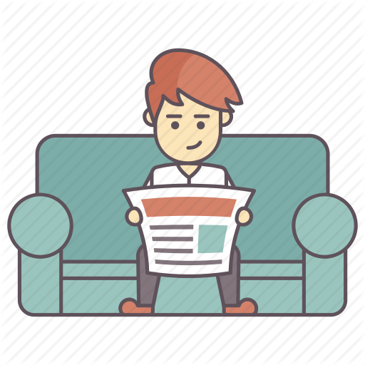 png royalty free library Man reading newspaper clipart.  happy salary daily.