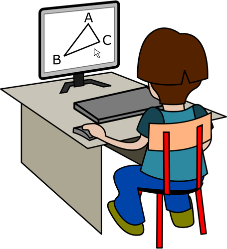 royalty free boy using computer clipart