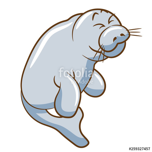 vector freeuse download Stock image and royalty. Manatee clipart vector.