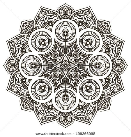 graphic black and white download Vector circle stock vectors. Mandala clipart patterned.