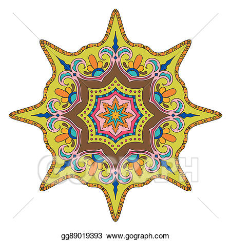 clip freeuse download Bright colored oriental decoration. Mandala clipart patterned.