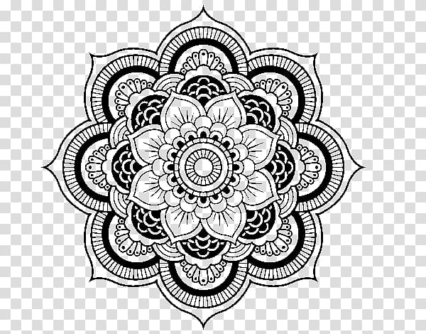 jpg royalty free library Black floral art coloring. Mandala clipart transparent background.