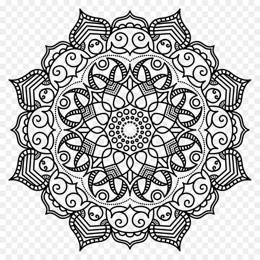 vector royalty free stock Mandala transparent black and white. Flower png download free