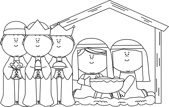 free library Black and White Nativity Scene with Wise Men Clip Art