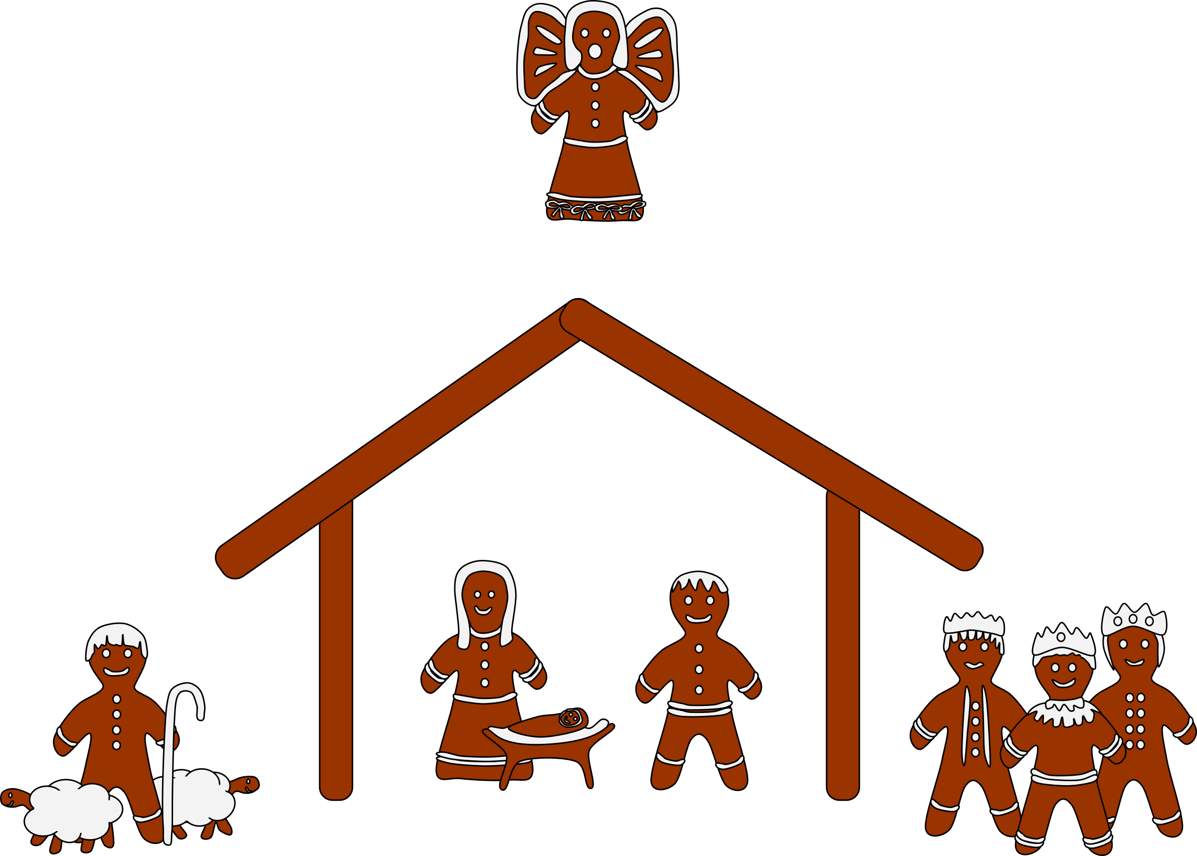 banner black and white stock Gingerbread big image png. Nativity clipart.