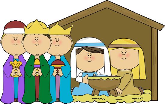 jpg black and white library Kids nativity clipart. Baby manger scene
