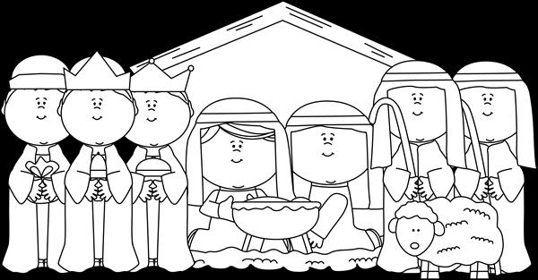 clip manger scene clipart black and white #69032529
