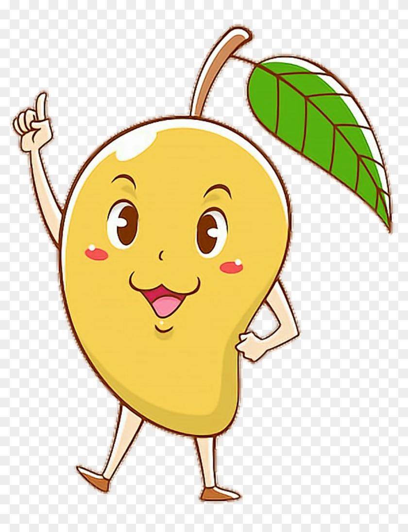 jpg transparent library Scmango cartoon colorful pose. Mango clipart cute.
