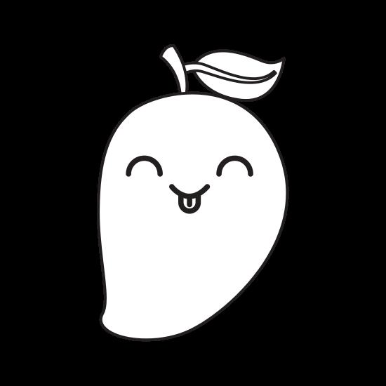 png black and white library Mango Fresh Fruit Kawaii Character