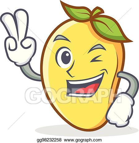 clip library Mango clipart smile. Vector art two finger