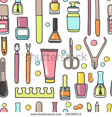 image royalty free library Manicure clipart decor. Vector seamless pattern of.