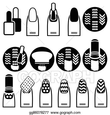 svg black and white stock Vector female with stamping. Manicure clipart decor.
