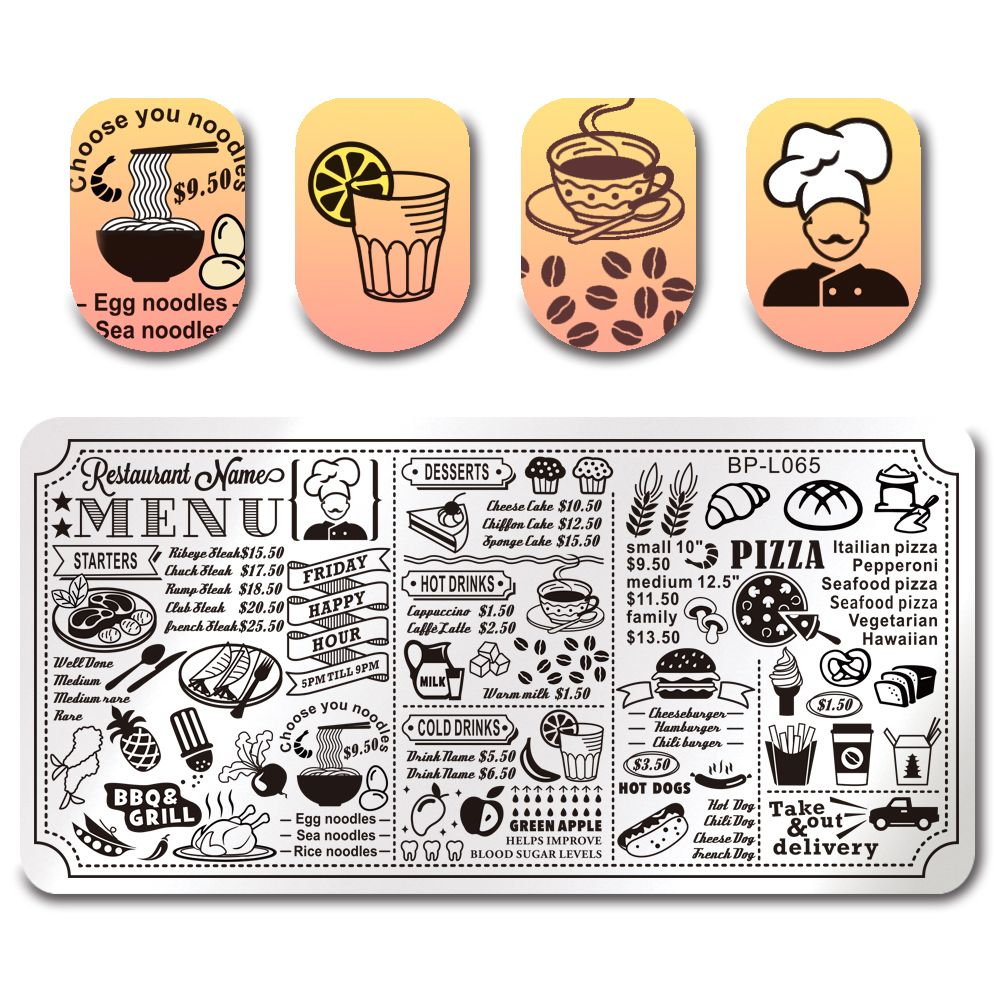graphic transparent download Born pretty template stamping. Manicure clipart restaurant menu.