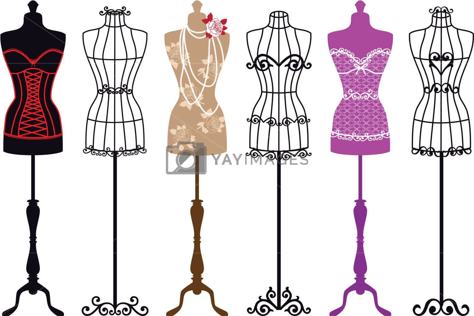 clipart stock Vector clothing mannequin. Fashion mannequins set stock