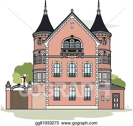 download Mansion clipart. Vector stock pink illustration.